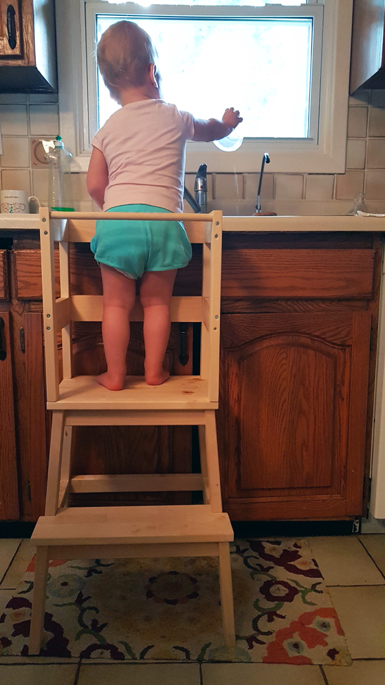DIY learning tower from Ikea Bekvam stool