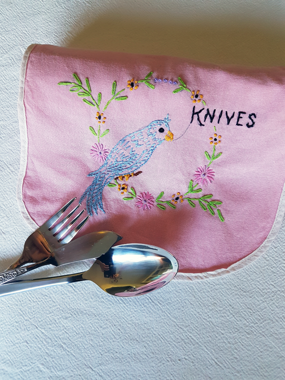 Embroidered fabric cutlery holder