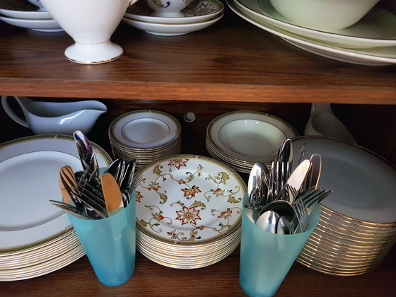 Cutlery stored in plastic cups
