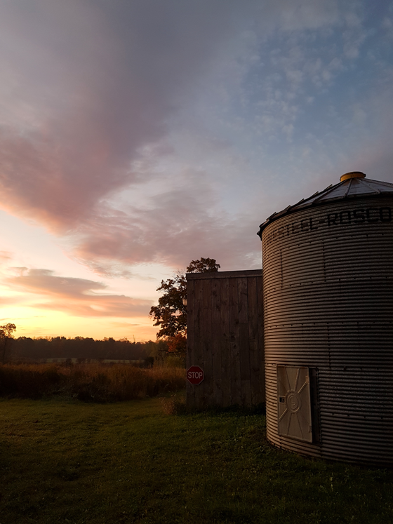 The silo at sunrise in the fall