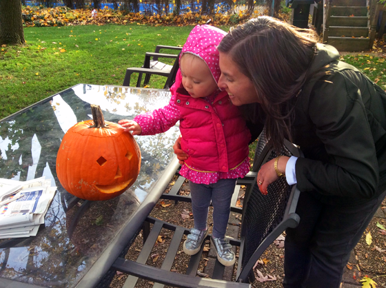 Pumpkin carving with Ellie
