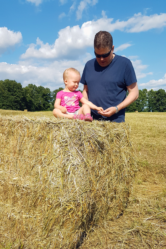 Matt and Ellie with the hay