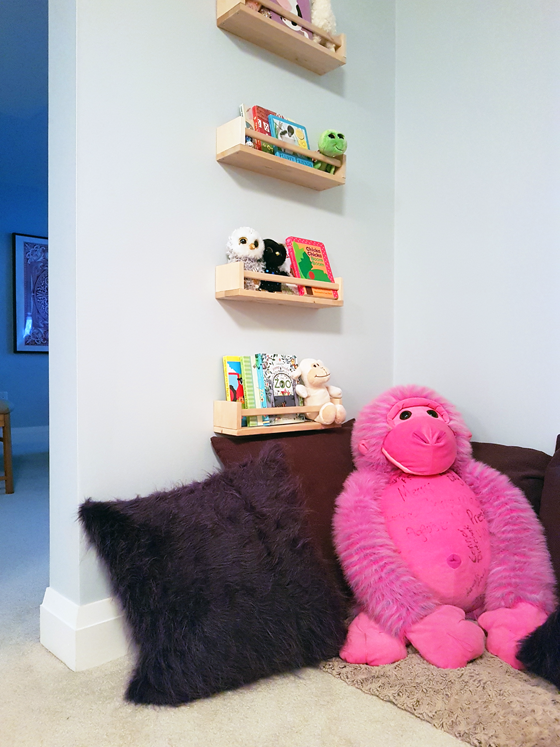 Toddler reading nook with spice rack bookshelves