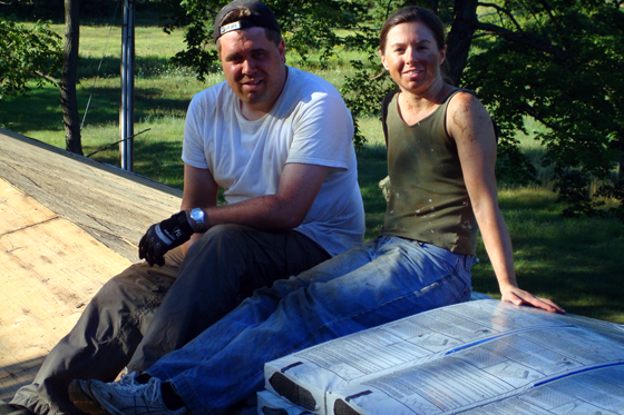 Matt and me shingling the roof