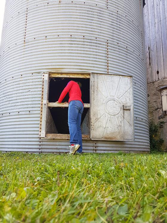 Metal grain silo