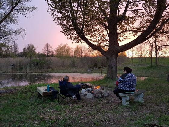 Bonfire beside the pond