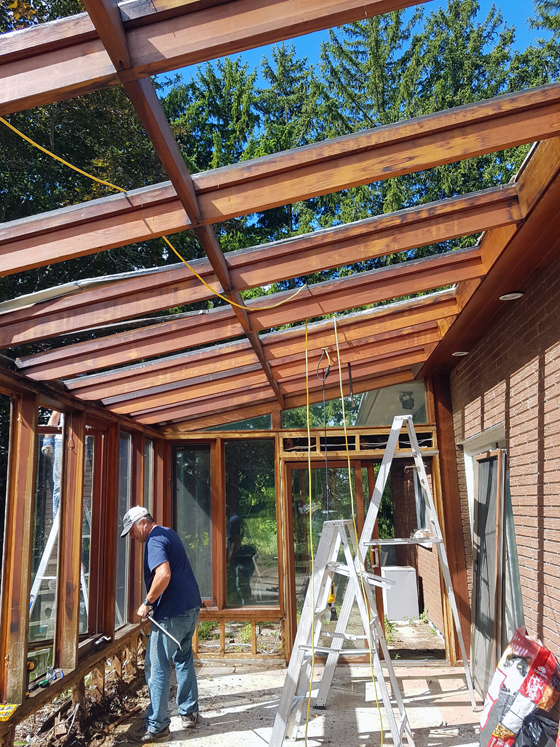 Demoing the sunroom