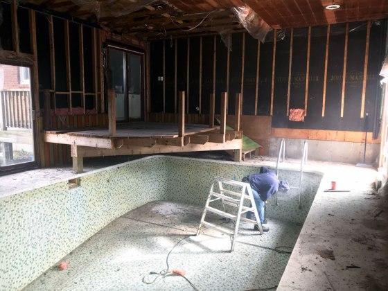 Indoor pool mid demolition