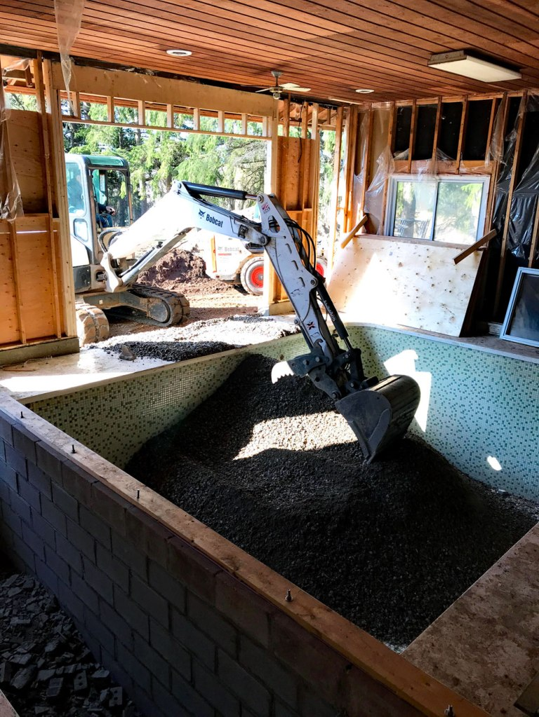 Filling an indoor pool with gravel