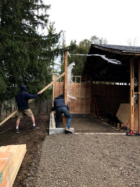Reusing an existing wall when framing the garage